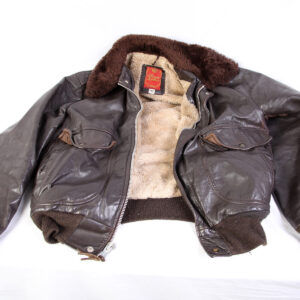 Brown Leather Bomber Jacket Men's 42