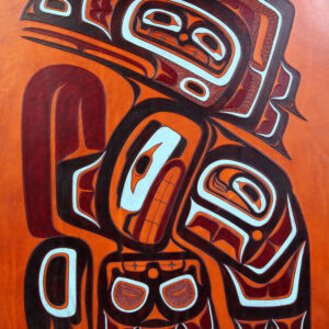 "I have this Tsimshian Embossed Leather Design up for sale in excellent condition. It measures 26"" tall x 19.5"" wide and is signed by Steven C. Evans."
